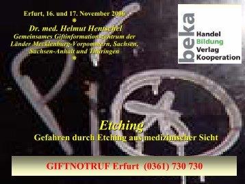 Besonderheiten bei Flusssäure - Giftinformationszentrum Erfurt
