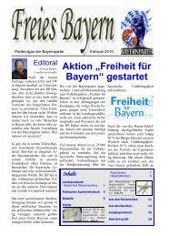 Politik - Freies Bayern - Bayernpartei