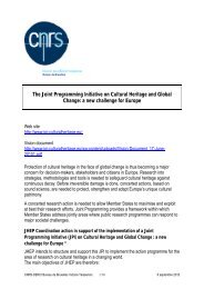 The Joint Programming Initiative on Cultural Heritage and Global ...