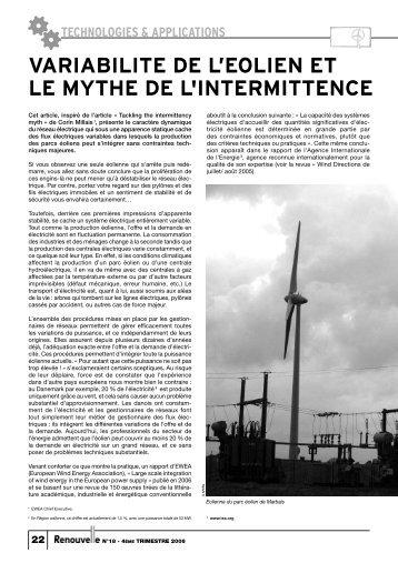 variabilite de l'eolien et le mythe de l'intermittence - APERe