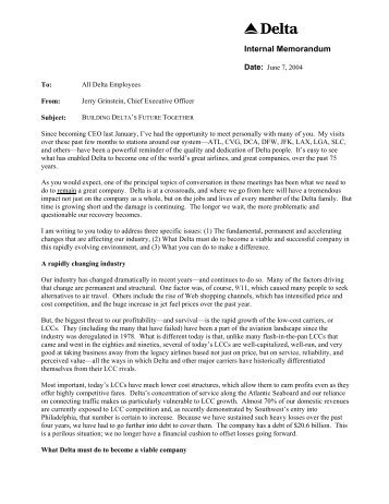Open Letter to all Employees from CEO Jerry Grinstein - Retiree ...