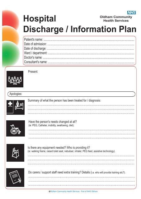 Hospital Discharge / Information Plan - Netbuddy