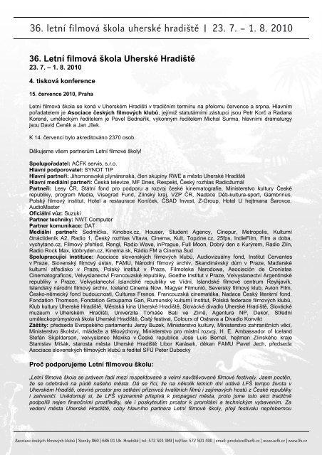Čtvrtá souhrnná TZ k 36. LFŠ (.pdf) - Asociace českých filmových klubů