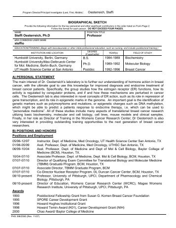 PHS 398 (Rev. 9/04), Biographical Sketch Format Page - PSTP ...