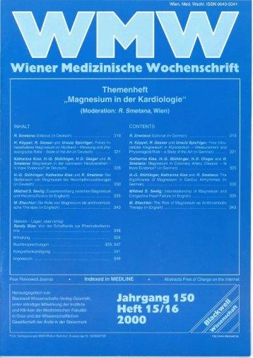 Jahrgang 150, Heft 15/16 (2000) - Magnesium Gesellschaft