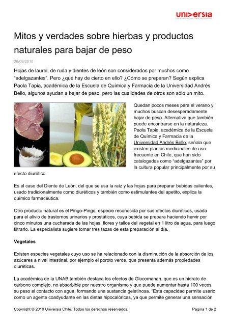 Hierbas medicinales naturales para adelgazar