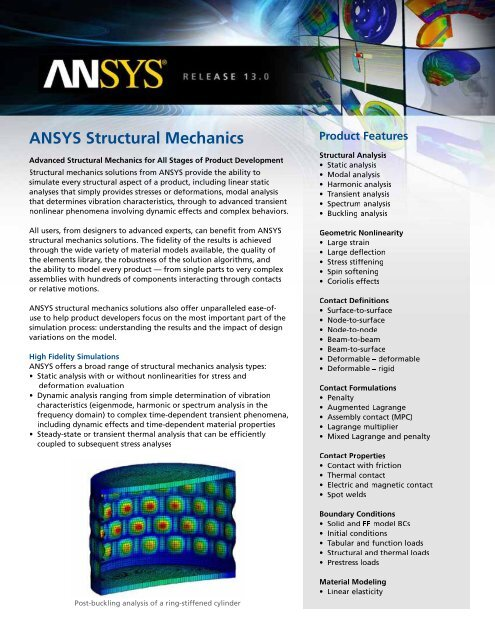 ANSYS Structural Mechanics - Ohio Computer Aided Engineering, Inc