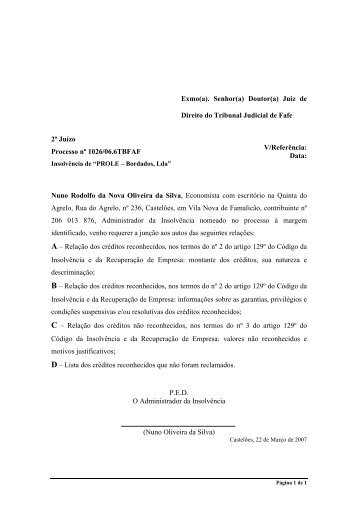 """Insolvência de """"PROLE - Bordados, Lda"""" - Nuno Oliveira da Silva"""