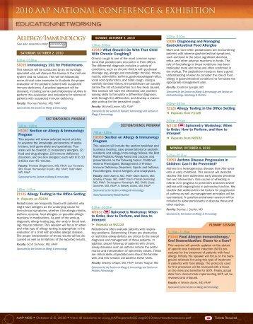 Allergy & Immunology - American Academy of Pediatrics National ...