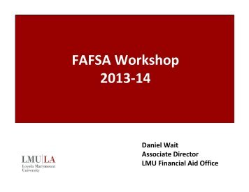 FAFSA Workshop 2013-14