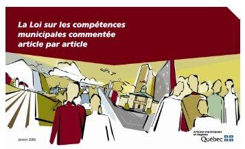 La Loi sur les compétences municipales commentée article par article