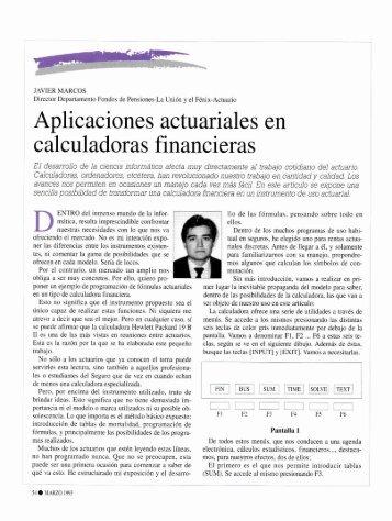 Aplicaciones actuariales en calculadoras financieras