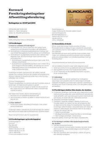 Forsikringsbetingelser for BetalingsSikring® - Eurocard