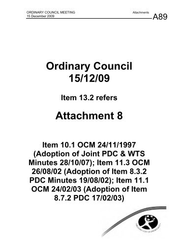 Ordinary Council 15/12/09 Attachment 8 - City Of Belmont