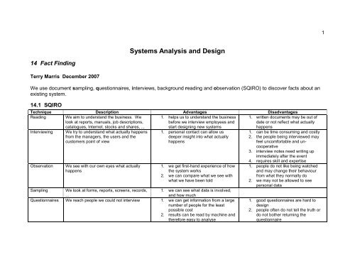 Systems Analysis And Design Tmarris Com