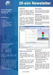 20-sim Newsletter December 2011 Number 38 In this issue