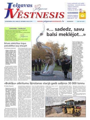 2012.gada 25.oktobris Nr.43(279) - Jelgavas Vēstnesis
