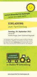 Flyer Familientag - Lernort Bauernhof im Heckengäu
