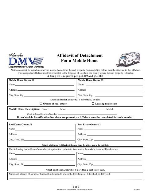 Affidavit of Detachment For a Mobile Home