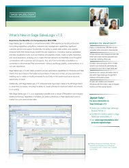 What's New in Sage SalesLogix v7.5 - Global Concepts