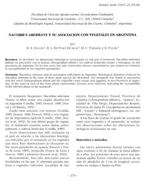 Nacobbus Aberrans Y Su Asociacion Con Vegetales En Argentina