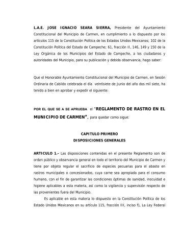 Reglamento de Rastro en el Municipio de Carmen - H ...