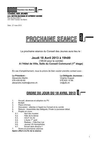 Séance du 14 mars 2013 - Yverdon-les-Bains