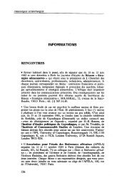 INFORMATIONS - Politique Africaine