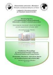 Ekonomická univerzita v Bratislave Fakulta medzinárodných vzťahov