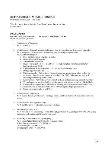 refsvindinge menighedsråd dagsorden - Refsvindinge Kirke