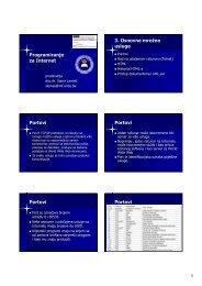Programiranje za Internet 3. Osnovne mrežne usluge Portovi Portovi ...