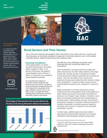 Rural Seniors and their Homes - 2013 - Housing Assistance Council