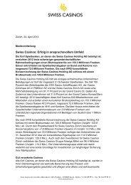 Swiss Casinos: Erfolg in anspruchsvollem Umfeld