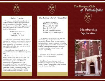 Membership Application - The Racquet Club of Philadelphia