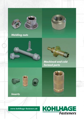 Welding nuts Inserts - KOHLHAGE Fasteners