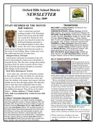to download the May Newsletter - Oxford Hills School District