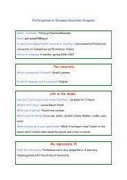 Participation in Erasmus/Socrates Program The University Life in the ...