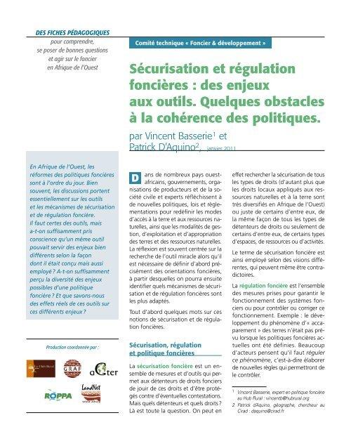 Sécurisation et régulation foncières : des enjeux aux outils ... - aGter