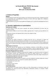 Le Circuit Africain ITF/CAT des Jeunes Règlements 1. Droits et ...
