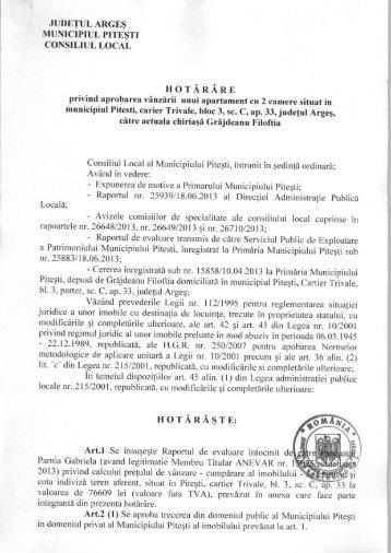 HCL 191 privind aprobarea vanzarii unui apartament cu 2 camere in ...