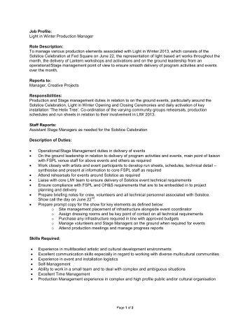 Job Description Position: Production Stage Manager Department