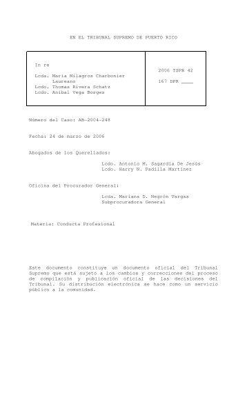 2006 TSPR 42 - Rama Judicial de Puerto Rico
