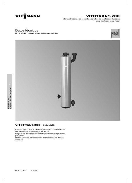 Datos técnicos VItotrans 200 WTD305 KB - Viessmann