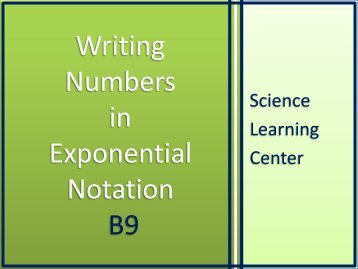 Writing Numbers in Exponential Notation