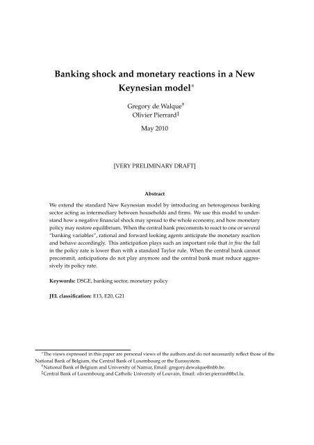Banking shock and monetary reactions in a New     - Dynare