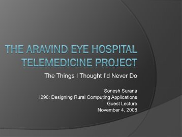 the Aravind Eye Hospital Telemedicine Project - Courses