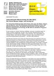 Internationaler Museumstag 20. Mai 2012: - Museenland Graubünden