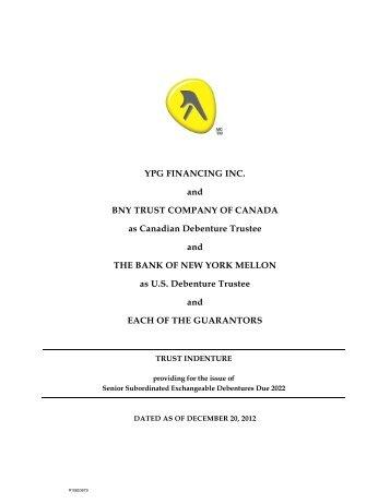 Senior Subordinated Exchangeable Debentures - Yellow Pages ...