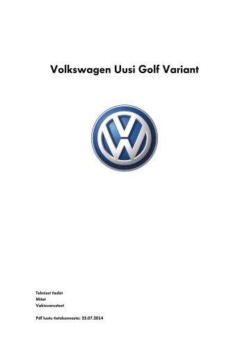 Volkswagen Uusi Golf Variant tekniset tiedot, mitat ja varusteet