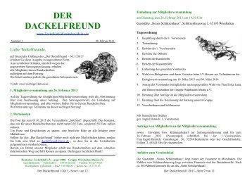 Der Dackelfreund - Nr. 1/2013 - Teckelklub Wiesbaden/ Mainz